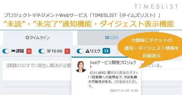 TIMESLIST 未読・未完了通知機能とダイジェスト表示機能をリリース